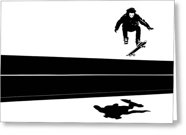 Shadows Drawings Greeting Cards - Skateboard Greeting Card by Giuseppe Cristiano