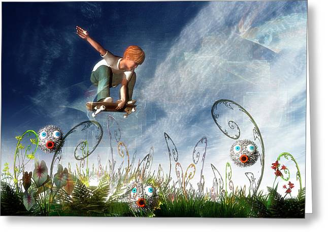 Skateboarder And Friends Greeting Card by Carol and Mike Werner
