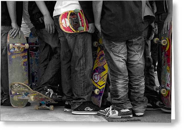 Skateboarders Greeting Card by Stelios Kleanthous