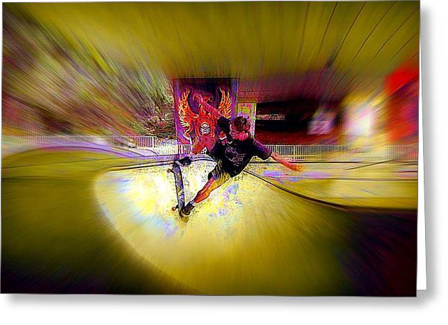 Greeting Card featuring the photograph Skateboarding by Lori Seaman