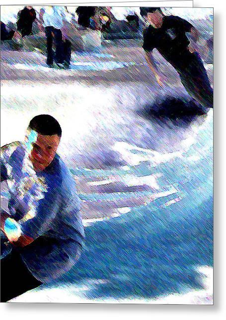 Skateboarding Digital Art Greeting Cards - Skatepark Greeting Card by Ronnie Caplan