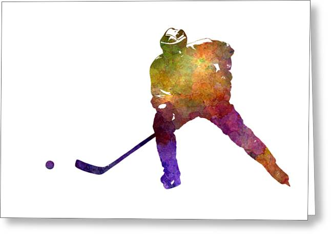 Skater Of Hockey In Watercolor Greeting Card by Pablo Romero
