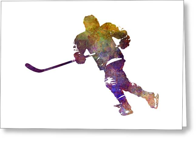 Skater With Stick In Watercolor Greeting Card by Pablo Romero