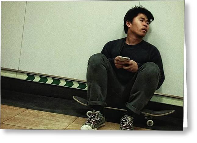 Skater #skate #streetphoto Greeting Card