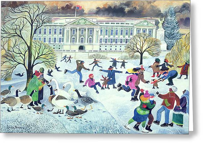 Ducks. Christmas Card. Greeting Card. Greeting Cards - Skaters at St Jamess Park Greeting Card by Lisa Graa Jensen