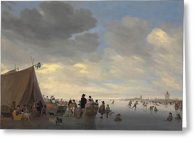 Skaters On The Frozen River Lek, The Town Of Vianen Beyond Greeting Card by Salomon van Ruisdael or Ruysdael