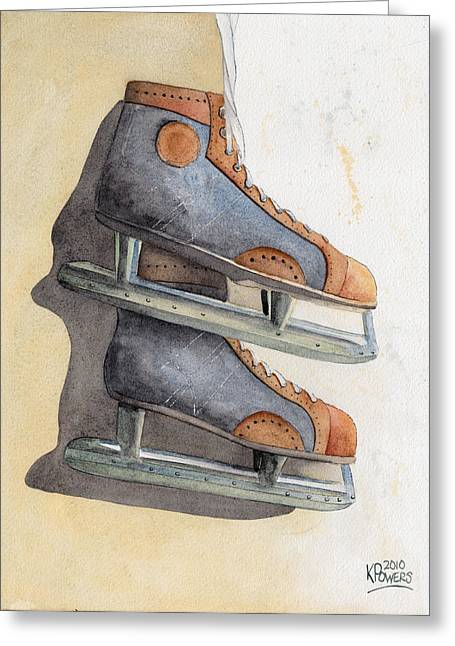 Skates Greeting Card by Ken Powers