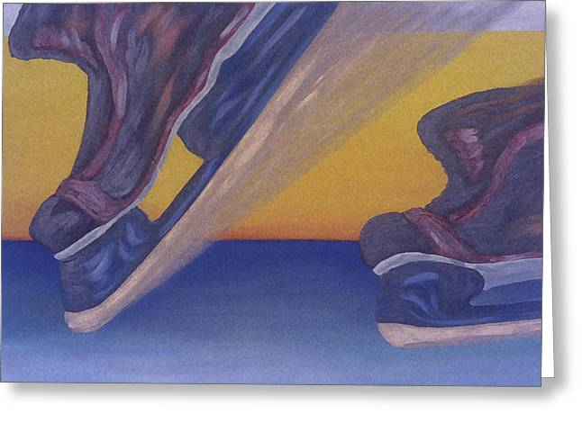 Hockey Paintings Greeting Cards - Skates Greeting Card by Ken  Yackel