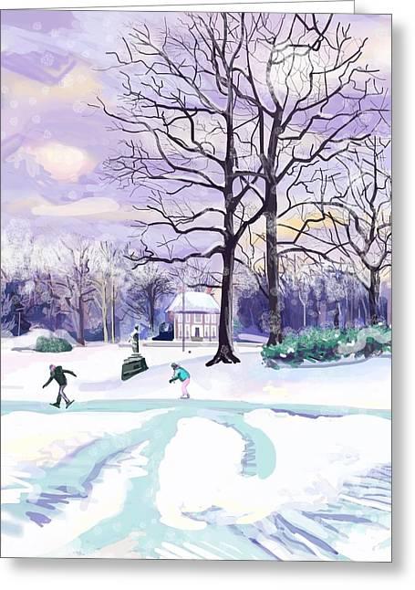 Skating In Huis Ter Heide Greeting Card