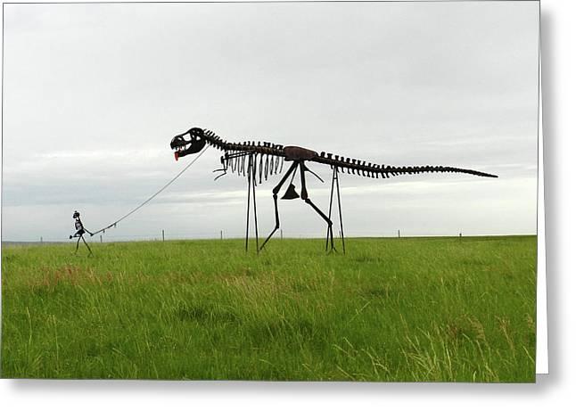 Skeletal Man Walking His Dinosaur Statue Greeting Card