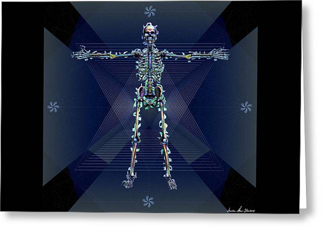 Greeting Card featuring the digital art Skeletal System by Iowan Stone-Flowers