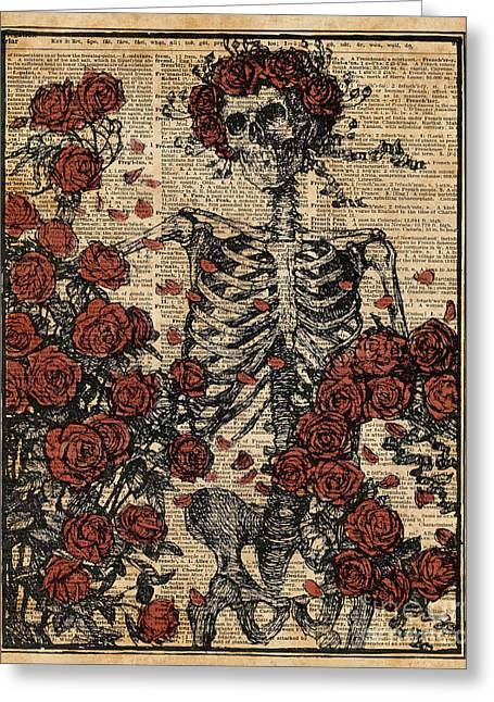 Skeleton Art, Skeleton With Roses Book Art,human Anatomy Greeting Card by Jacob Kuch