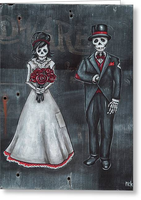 Skeleton Bride And Groom Aka Amor Sencillo Greeting Card