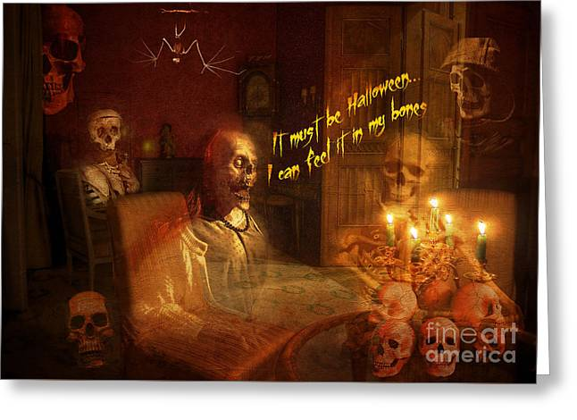 Greeting Card featuring the digital art Skeleton Card 2016 by Kathryn Strick