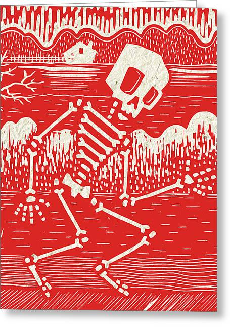 Skeleton Farm Red Greeting Card