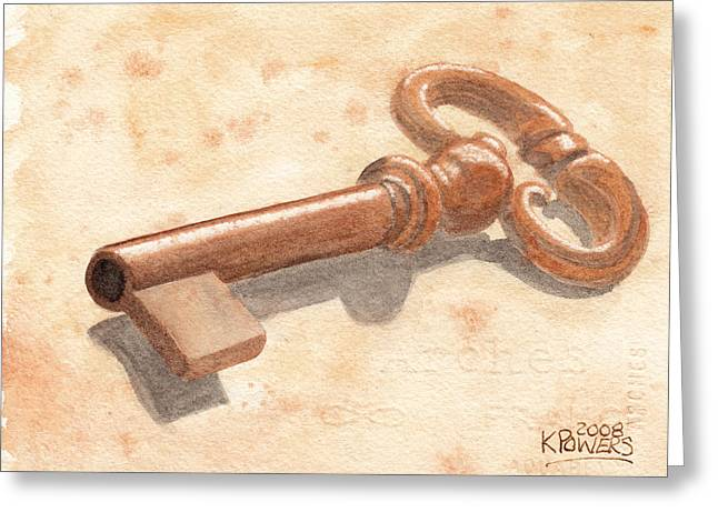 Skeleton Key Greeting Card by Ken Powers
