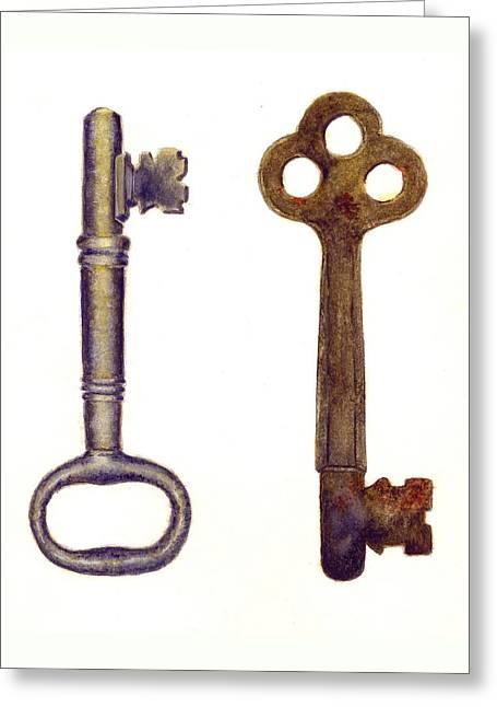 Skeleton Keys Greeting Card by Michael Vigliotti