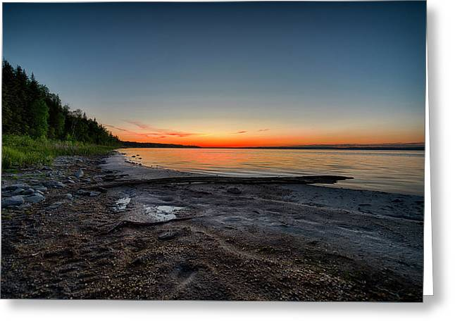 Greeting Card featuring the photograph Skeleton Lake Beach At Sunset by Darcy Michaelchuk