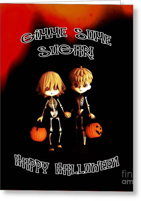 Skeleton Twinz Halloween Greeting Card