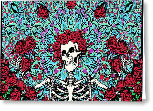 skeleton With Roses Greeting Card by Gd