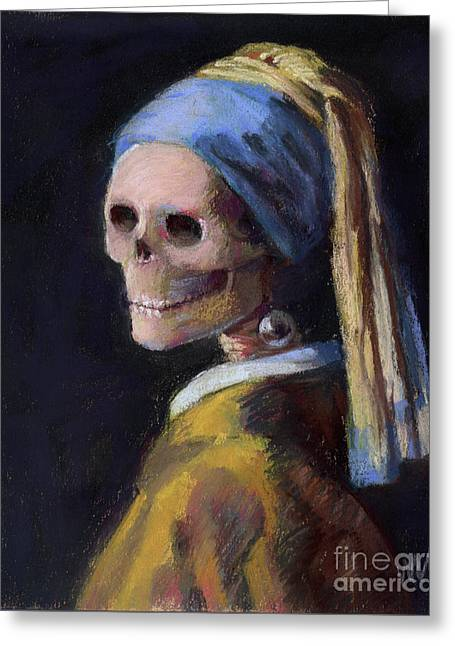 Skelly With A Pearl Earring Greeting Card by Marie Marfia
