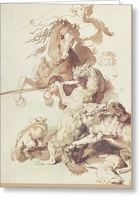 Sketch For A Wolf Hunt Greeting Card by Peter Paul Rubens