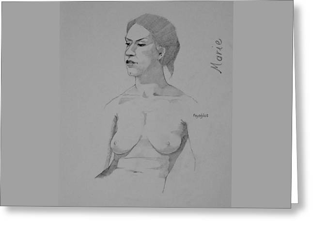 Greeting Card featuring the drawing Sketch For Marie Seated by Ray Agius