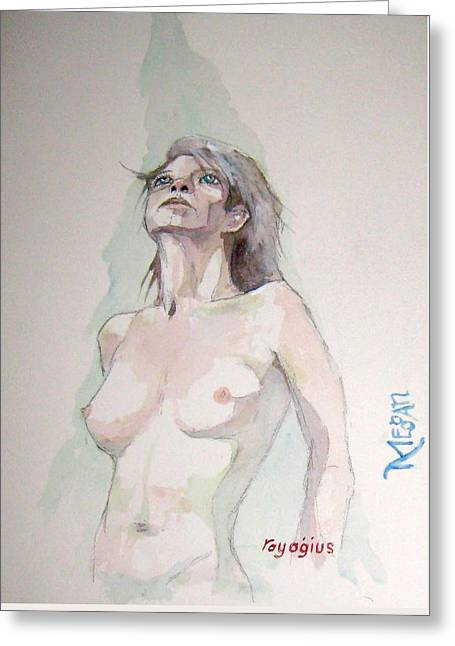 Greeting Card featuring the painting Sketch For Megan Iv by Ray Agius