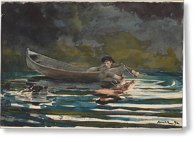 Sketch For Hound And Hunter Greeting Card by Winslow Homer
