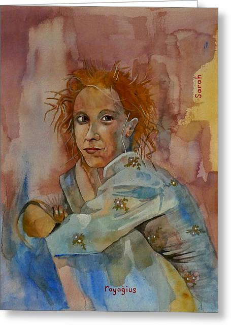 Greeting Card featuring the painting Sketch For Sarah by Ray Agius