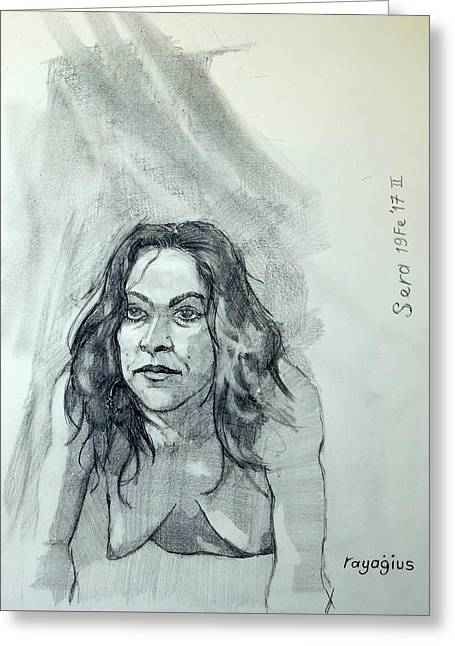 Greeting Card featuring the painting Sketch For Sera.10.01 by Ray Agius