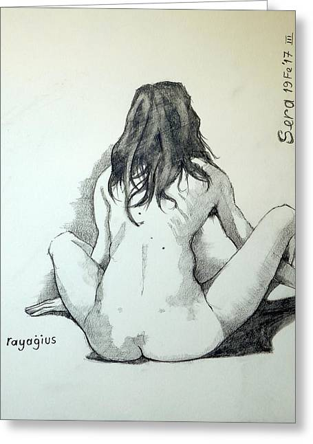 Greeting Card featuring the painting Sketch For Sera.10.02 by Ray Agius