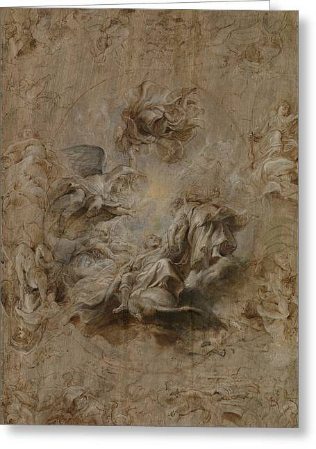Sketch For The Banqueting House Ceiling Greeting Card by Peter Paul Rubens