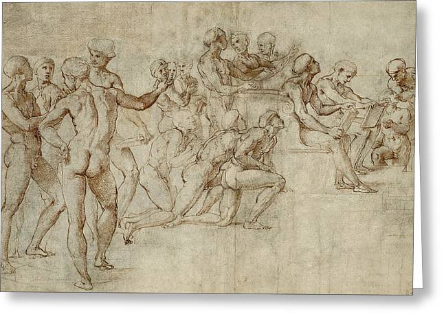 Sketch For The Lower Left Section Of The Disputa Greeting Card by Raphael