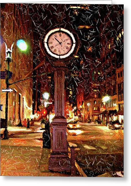 Sketch Of Midtown Clock In The Snow Greeting Card