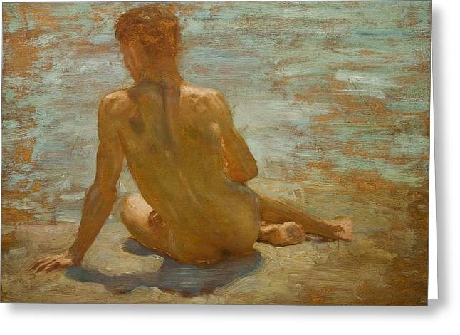 Sketch Of Nude Youth Study For Morning Spelendour Greeting Card by Henry Scott Tuke