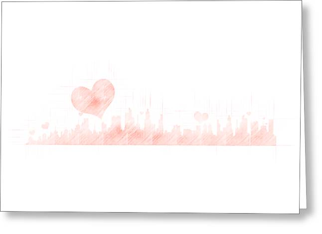 Sketch Of The City Skyline Greeting Card
