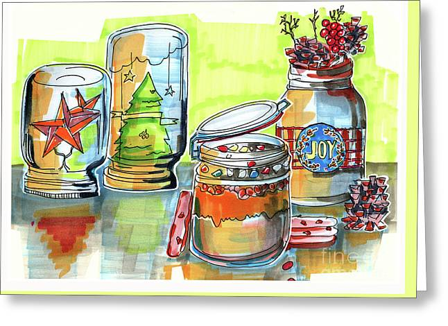 Greeting Card featuring the drawing Sketch Of Winter Decorative Jars  by Ariadna De Raadt