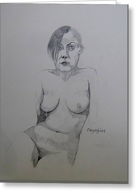 Greeting Card featuring the drawing Sketch Reclining Cassie by Ray Agius