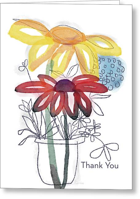 Sketchbook Flowers Thank You- Art By Linda Woods Greeting Card