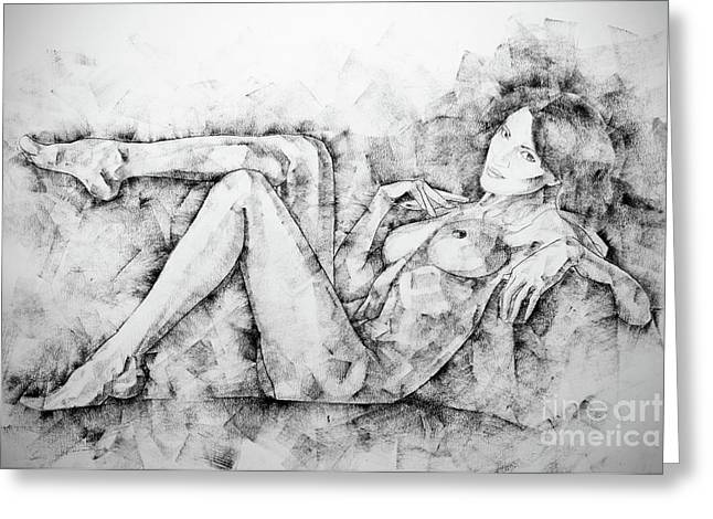 Sketchbook Page 46 Drawing Woman Classical Sitting Pose Greeting Card