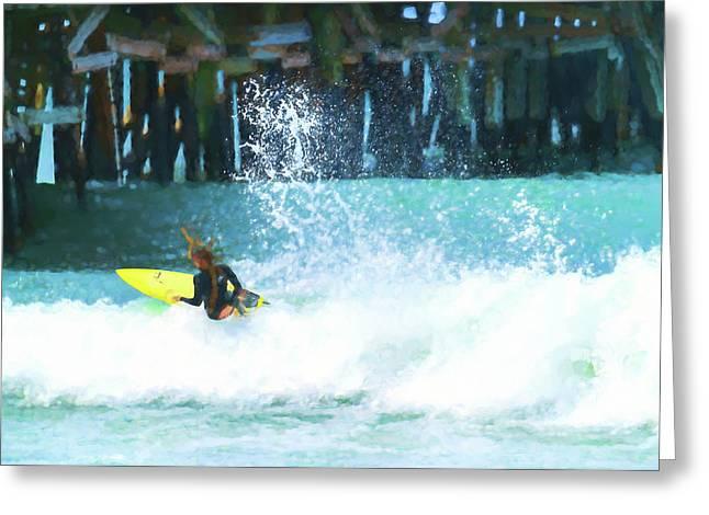 Sketchy Ride Dreadlocks Surfer Watercolor Greeting Card