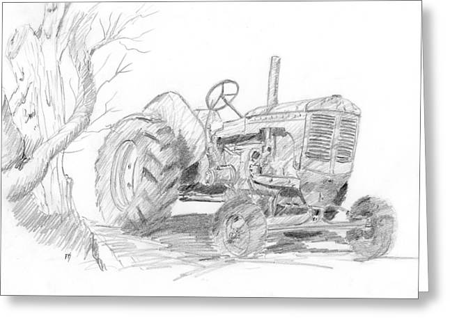 Sketchy Tractor Greeting Card by David King