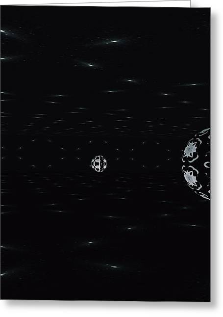Greeting Card featuring the digital art Skewed Cone Orbit At Night by Sheila Mcdonald