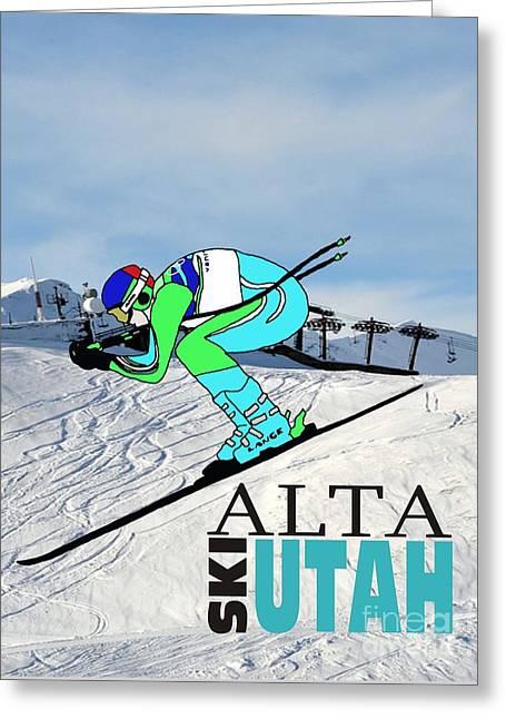 Ski Racing Greeting Cards - Ski Alta Utah Greeting Card by Priscilla Wolfe