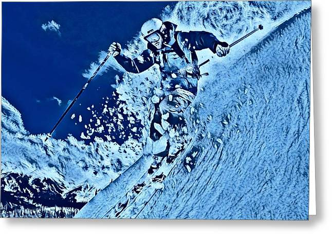 Ski Art Abstract Two Greeting Card by Pd