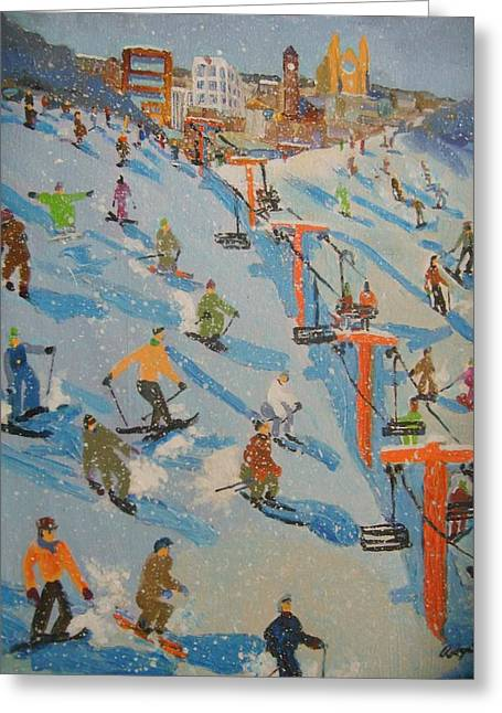 Ski Hill Greeting Card by Rodger Ellingson