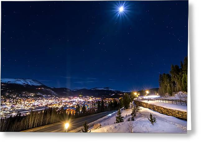 Ski Hill Under Moonlight Greeting Card by Michael J Bauer