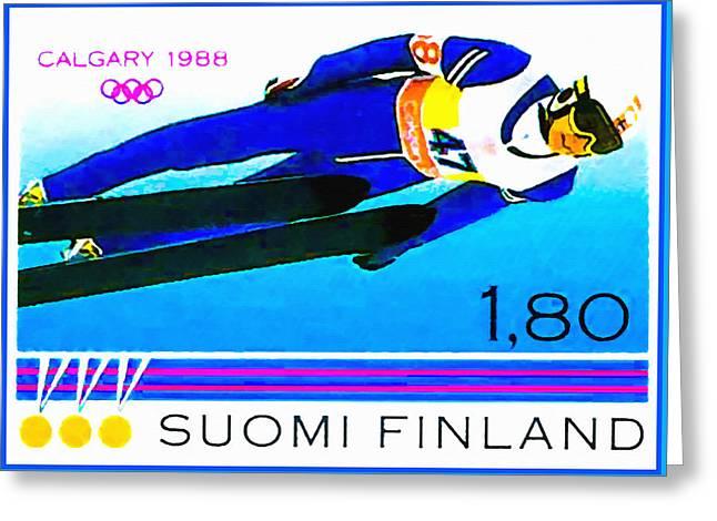 Ski-jumper Greeting Card