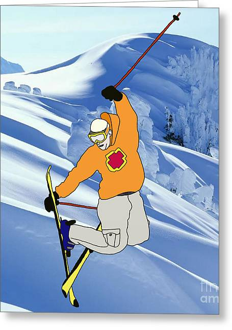 Ski Jumping Greeting Card by Priscilla Wolfe